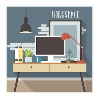 Interno moderno del posto di lavoro nell'illustrazione di stile del sottotetto