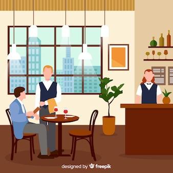 Interno moderno del ristorante con design piatto