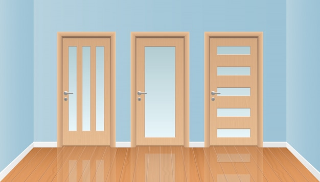 Interno realistico della stanza con l'illustrazione di legno del pavimento