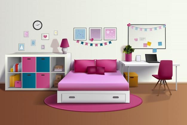 Interno realistico della stanza della ragazza con lo scrittorio rosa delle strutture della foto dello scaffale per libri della sedia del letto