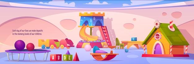 Interno sala giochi per bambini, parco giochi al coperto vuoto