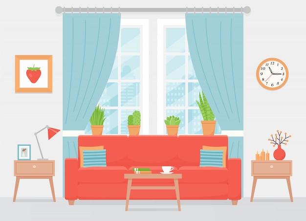 Interno soggiorno. illustrazione. design piatto.