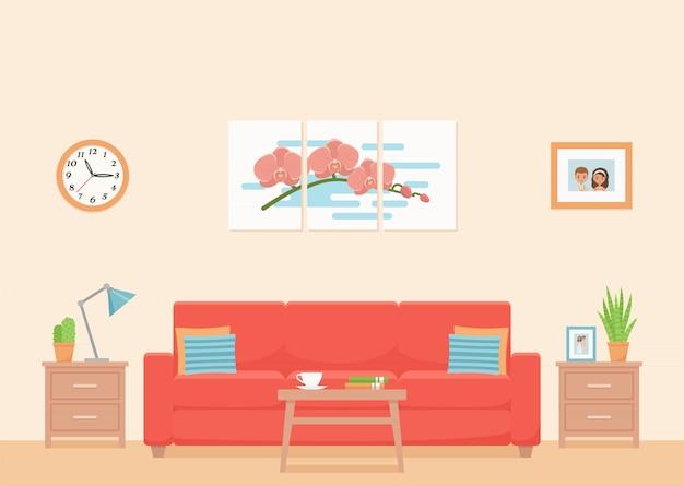 Interno soggiorno. illustrazione. piatto .