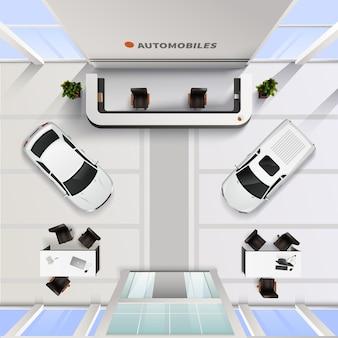 Interno ufficio isometrica vista dall'alto del salone dell'automobile con auto e tavoli per dipendenti e clienti