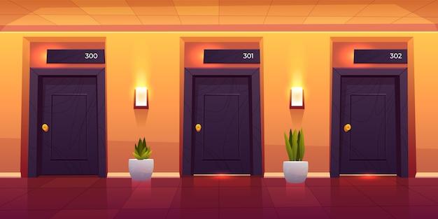 Interno vuoto del corridoio dell'albergo di lusso