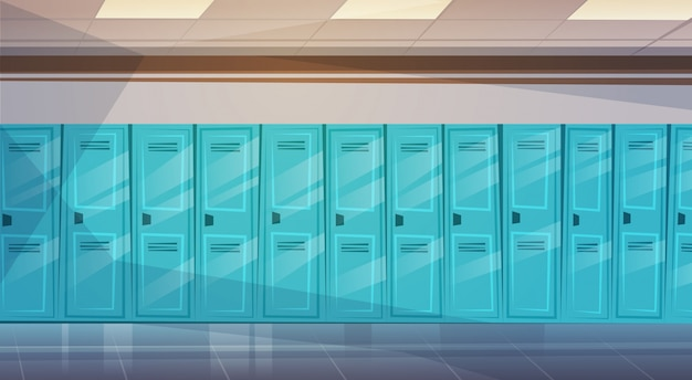 Interno vuoto del corridoio scolastico con la fila degli armadietti