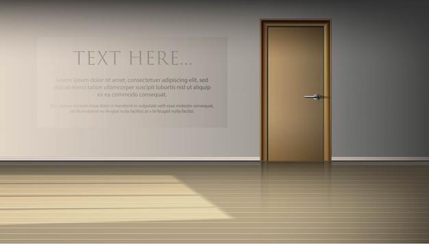 Interno vuoto del salone per l'annuncio della mostra. luce e ombra decorative per finestre, con porta