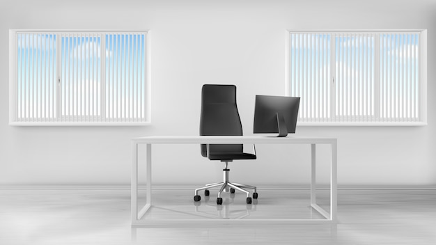 Interno vuoto della stanza dell'ufficio, posto di lavoro con lo scrittorio