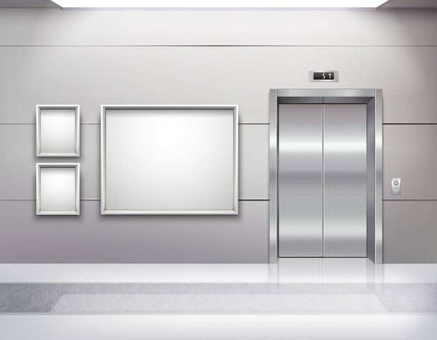 Interno vuoto realistico della sala dell'ascensore