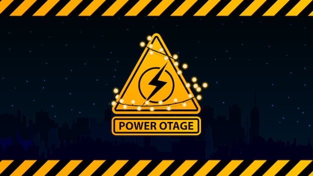 Interruzione di corrente, segnale di avvertimento giallo