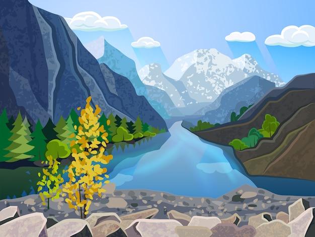 Intervallo di montagna di estate della carta da parati del paesaggio di qualità con il fiume e l'albero dorato
