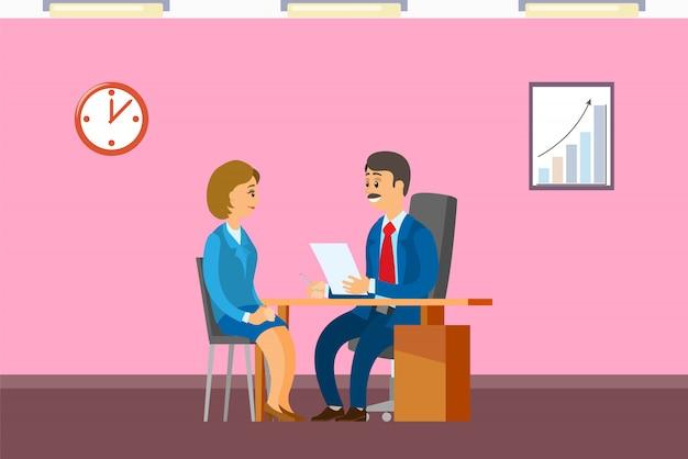 Intervista di lavoro con il capo, assunzione di un nuovo impiegato