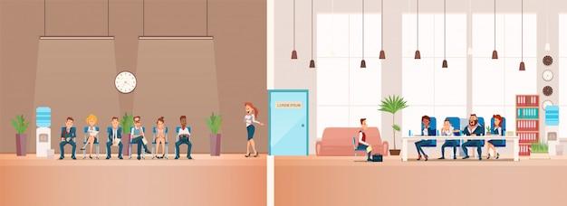 Intervista di lavoro e reclutamento. illustrazione vettoriale
