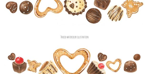 Intestazione caramelle di cioccolato