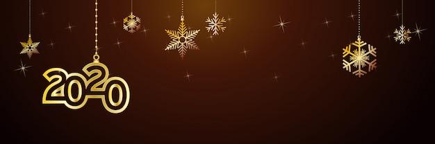 Intestazione del buon anno 2020. palline d'oro e stelle, banner