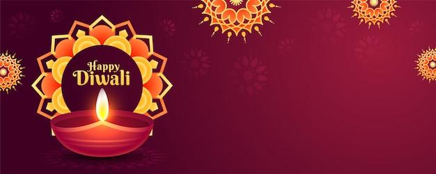 Intestazione del sito web o banner decorato con motivo a mandala e lampada a olio illuminata (diya) per la celebrazione di happy diwali.