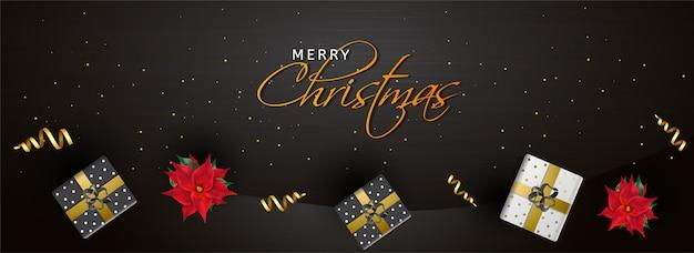 Intestazione del sito web o banner decorato con vista dall'alto di scatole regalo e fiori per la celebrazione di buon natale