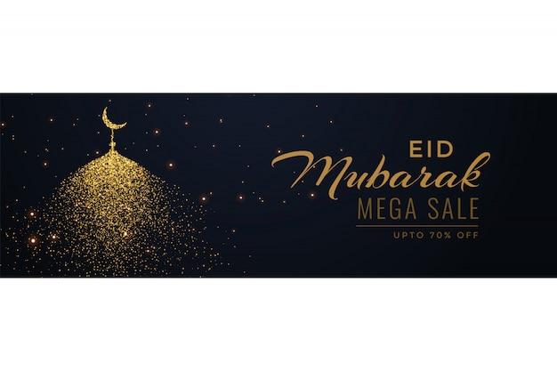 Intestazione di banner vendita eid creativa con moschea scintilla