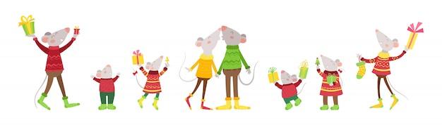 Intestazione di nuovo anno con ratti felici. insieme di ratti allegri con regali, personaggi dei cartoni animati di natale