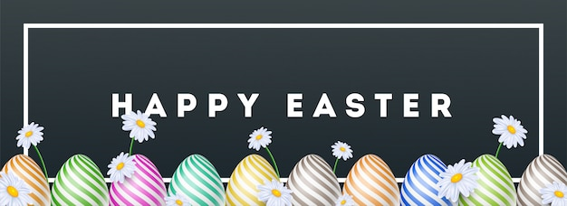 Intestazione di pasqua felice o design banner decorato