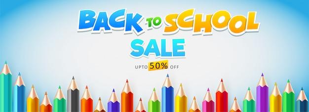 Intestazione di vendita o design di banner decorato con una matita colorata