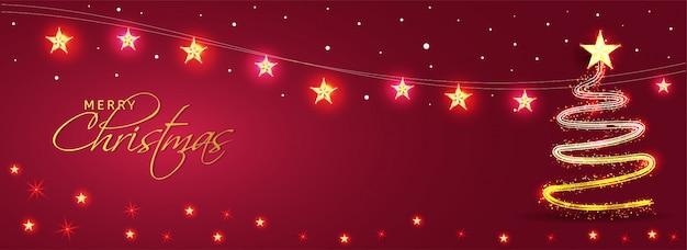 Intestazione o bandiera rossa decorata con stelle dorate e albero di natale creativo fatto da effetto di illuminazione glitter per la celebrazione di buon natale.