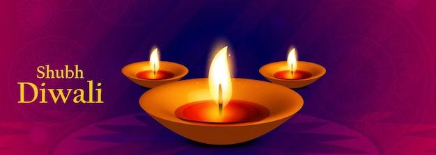 Intestazione o banner con lampada ad olio illuminata per il festival indiano