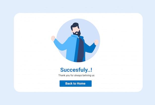 Intestazione successo illustrazione interfaccia utente dello schermo dell'interfaccia utente sito web