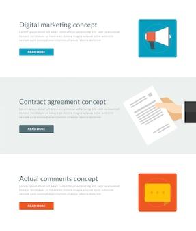 Intestazioni del sito web o modelli di banner di promozione e design di icone piatte.