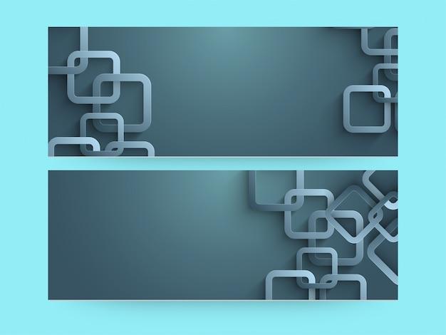 Intestazioni lucide del sito con collegamenti geometrici e spazio per il testo.