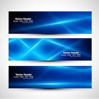 Intestazioni set con raggi blu