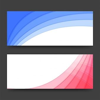 Intestazioni web con disegno astratto blu e rosa.