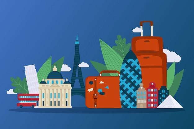 Intraprendi un viaggio attraverso l'europa pittoresca, illustrazione. famosi edifici di paesi, grattacielo di cetriolino, torre eiffel.