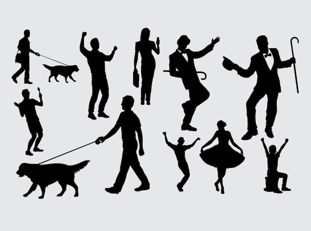 Intrattenitore e silhouette di attività di persone
