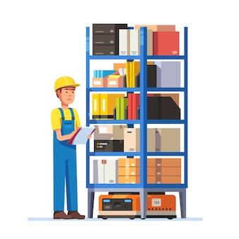 Inventario di controllo del lavoratore di magazzino