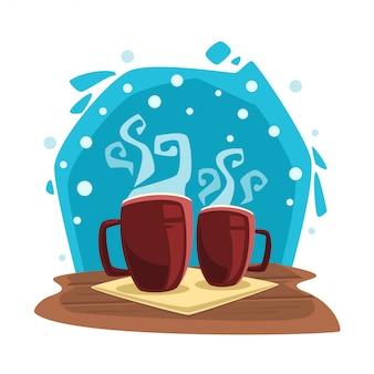 Inverno di doodle del fumetto relax illustrazione di cioccolata calda