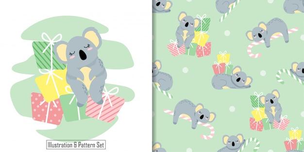 Inverno di koala sveglio del motivo senza giunte di natale