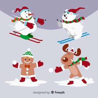 Inverno divertente collezione di personaggi natalizi