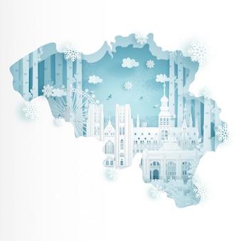 Inverno in belgio per il concetto di pubblicità di viaggi e tour