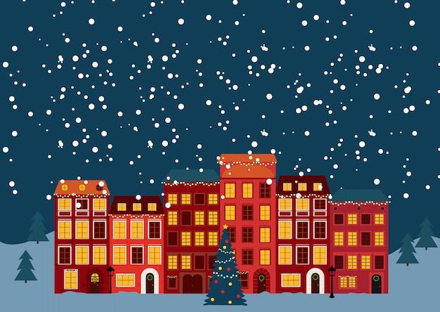 Inverno natale e capodanno piccola città in stile retrò