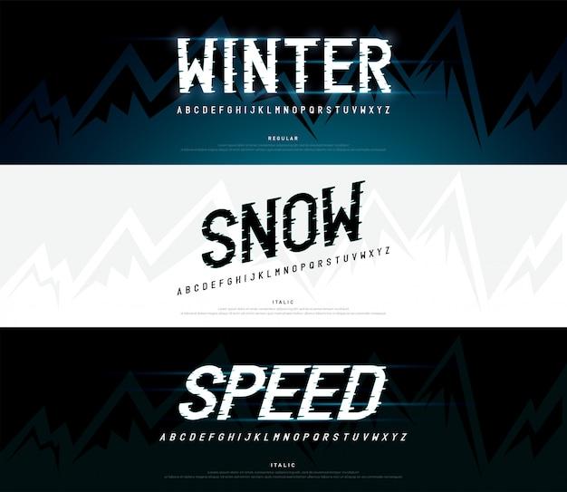 Inverno, neve caratteri alfabeto moderno