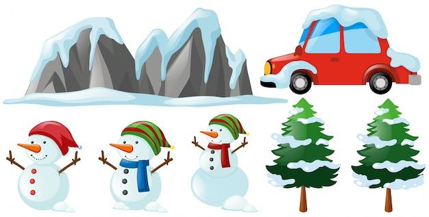 Inverno set con il pupazzo di neve e albero