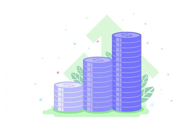 Investimenti finanziari. concetto di business di crescita graduale. disegno grafico.
