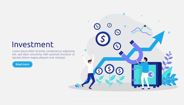 Investimento aziendale. ritorni sul grafico grafico di investimento. crescita finanziaria in aumento fino al successo
