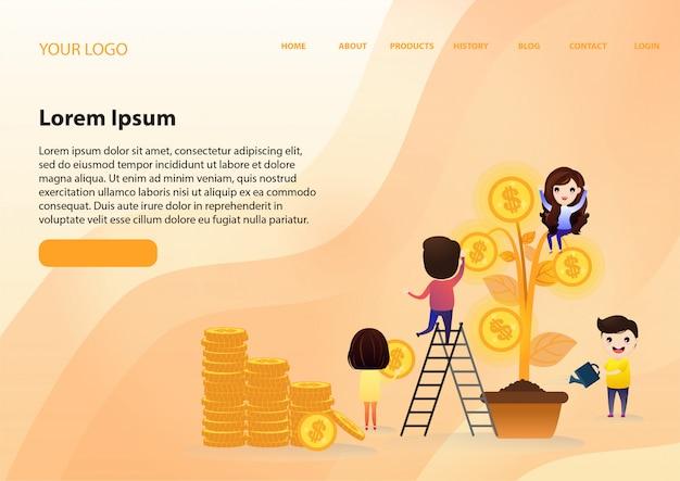 Investimento crescente della squadra con la foglia dell'albero con crescita dei soldi della moneta di oro.