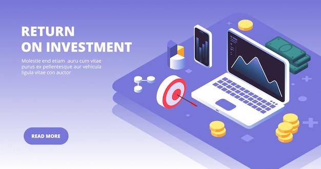 Investimento di capitale, vantaggi e profitti con simboli laptop, smartphone e denaro