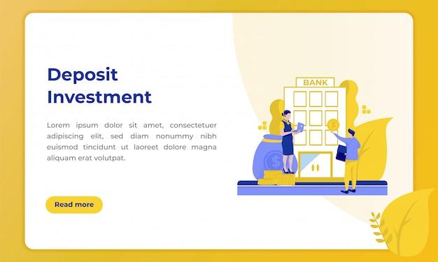 Investimento di depositi, illustrazione con il tema del settore bancario