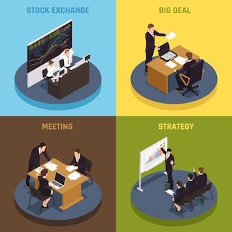 Investimento finanziamento 4 icone isometriche concetto con gestori che soddisfano la strategia di grande affare contratti borsa valori