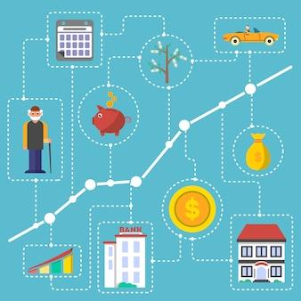 Investimento in infografica di vecchiaia in design piatto
