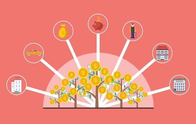 Investimento in infographics di vecchiaia con l'albero dei soldi